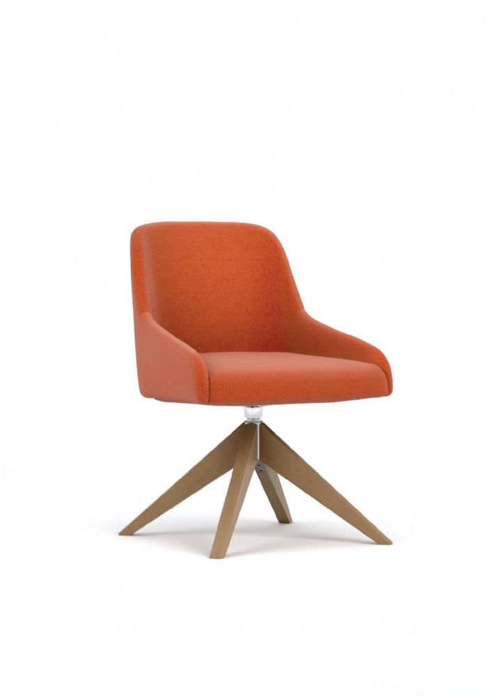 Pledge Flow Fully Upholstered Swivel Chair With Wooden Base